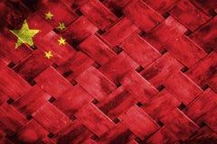 Σημαία της Κίνας, σημαία στο ξύλο Στοκ Φωτογραφίες