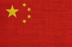 Σημαία της Κίνας στο παλαιό λινό Στοκ Εικόνες