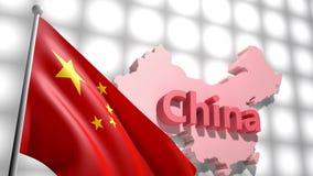 Σημαία της Κίνας στο χάρτη της Κίνας απόθεμα βίντεο