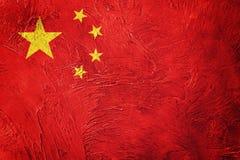 Σημαία της Κίνας Grunge Σημαία ραχών με τη σύσταση grunge Στοκ Φωτογραφίες