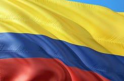 Σημαία της Κολομβίας Κολομβιανή σημαία τρισδιάστατη Κυματίζοντας σημαία της Κολομβίας τρισδιάστατο σχέδιο σημαιών κυματισμού Κίτρ διανυσματική απεικόνιση