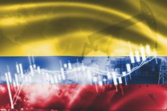 Σημαία της Κολομβίας, χρηματιστήριο, οικονομία ανταλλαγής και εμπόριο, παραγωγή πετρελαίου, σκάφος εμπορευματοκιβωτίων στην επιχε ελεύθερη απεικόνιση δικαιώματος