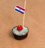 Σημαία της Κροατίας σε ένα cupcake Στοκ φωτογραφίες με δικαίωμα ελεύθερης χρήσης