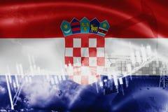 Σημαία της Κροατίας, χρηματιστήριο, οικονομία ανταλλαγής και εμπόριο, παραγωγή πετρελαίου, σκάφος εμπορευματοκιβωτίων στην εξαγωγ διανυσματική απεικόνιση
