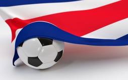 Σημαία της Κόστα Ρίκα με τη σφαίρα ποδοσφαίρου πρωταθλήματος Στοκ φωτογραφία με δικαίωμα ελεύθερης χρήσης