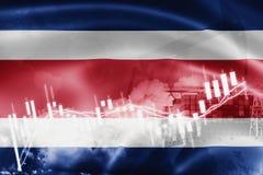 Σημαία της Κόστα Ρίκα, χρηματιστήριο, οικονομία ανταλλαγής και εμπόριο, παραγωγή πετρελαίου, σκάφος εμπορευματοκιβωτίων στην επιχ ελεύθερη απεικόνιση δικαιώματος