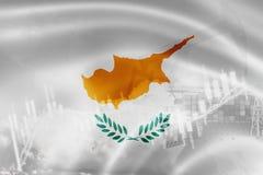 Σημαία της Κύπρου, χρηματιστήριο, οικονομία ανταλλαγής και εμπόριο, παραγωγή πετρελαίου, σκάφος εμπορευματοκιβωτίων στην εξαγωγή  διανυσματική απεικόνιση