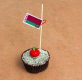 Σημαία της Λευκορωσίας σε ένα cupcake Στοκ φωτογραφία με δικαίωμα ελεύθερης χρήσης