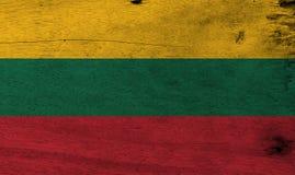 Σημαία της Λιθουανίας στο ξύλινο υπόβαθρο πιάτων Λιθουανική σύσταση σημαιών Grunge διανυσματική απεικόνιση