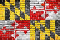 Σημαία της Μέρυλαντ σε έναν τουβλότοιχο ελεύθερη απεικόνιση δικαιώματος