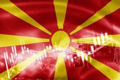 Σημαία της Μακεδονίας, χρηματιστήριο, οικονομία ανταλλαγής και εμπόριο, παραγωγή πετρελαίου, σκάφος εμπορευματοκιβωτίων στην επιχ διανυσματική απεικόνιση