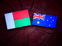 Σημαία της Μαδαγασκάρης με την αυστραλιανή σημαία σε ένα κολόβωμα δέντρων που απομονώνεται Στοκ Εικόνα