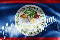Σημαία της Μπελίζ, χρηματιστήριο, οικονομία ανταλλαγής και εμπόριο, παραγωγή πετρελαίου, σκάφος εμπορευματοκιβωτίων στην εξαγωγή  απεικόνιση αποθεμάτων