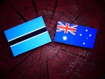 Σημαία της Μποτσουάνα με την αυστραλιανή σημαία σε ένα κολόβωμα δέντρων Στοκ φωτογραφίες με δικαίωμα ελεύθερης χρήσης