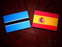 Σημαία της Μποτσουάνα με την ισπανική σημαία σε ένα κολόβωμα δέντρων Στοκ φωτογραφία με δικαίωμα ελεύθερης χρήσης