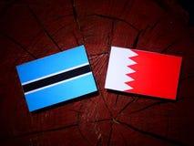 Σημαία της Μποτσουάνα με την του Μπαχρέιν σημαία σε ένα κολόβωμα δέντρων που απομονώνεται Στοκ Φωτογραφία