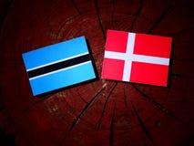 Σημαία της Μποτσουάνα με τη δανική σημαία σε ένα κολόβωμα δέντρων που απομονώνεται Στοκ εικόνα με δικαίωμα ελεύθερης χρήσης