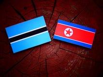 Σημαία της Μποτσουάνα με τη βόρεια κορεατική σημαία σε ένα κολόβωμα δέντρων Στοκ Φωτογραφία