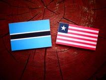 Σημαία της Μποτσουάνα με τη λιβεριανή σημαία σε ένα κολόβωμα δέντρων που απομονώνεται Στοκ Φωτογραφία