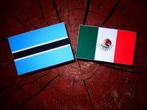 Σημαία της Μποτσουάνα με τη μεξικάνικη σημαία σε ένα κολόβωμα δέντρων που απομονώνεται Στοκ Εικόνα