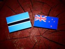 Σημαία της Μποτσουάνα με τη σημαία της Νέας Ζηλανδίας σε ένα κολόβωμα δέντρων που απομονώνεται Στοκ Εικόνες