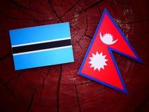 Σημαία της Μποτσουάνα με τη σημαία Nepali σε ένα κολόβωμα δέντρων που απομονώνεται Στοκ Φωτογραφία