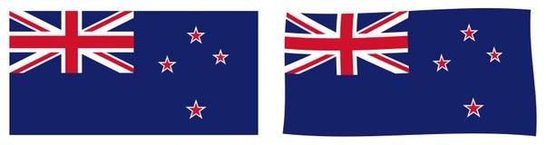 Σημαία της Νέας Ζηλανδίας Απλός και έκδοση ελαφρώς κυματισμού διανυσματική απεικόνιση