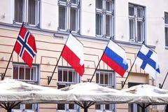Σημαία της Νορβηγίας Πολωνία Ρωσία Φινλανδία Στοκ Εικόνες