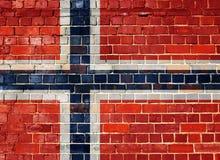 Σημαία της Νορβηγίας σε έναν τουβλότοιχο Στοκ Εικόνες