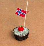 Σημαία της Νορβηγίας σε ένα cupcake Στοκ φωτογραφίες με δικαίωμα ελεύθερης χρήσης