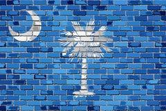Σημαία της νότιας Καρολίνας σε έναν τουβλότοιχο απεικόνιση αποθεμάτων