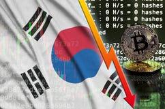 Σημαία της Νότιας Κορέας και μειωμένο κόκκινο βέλος σε οθόνη μεταλλείας bitcoin και δύο φυσικά χρυσά bitcoins ελεύθερη απεικόνιση δικαιώματος