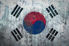 Σημαία της Νότιας Κορέας που χρωματίζεται σε έναν τοίχο Στοκ Εικόνες