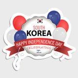 Σημαία της Νότιας Κορέας στο σωστά μέγεθος, την αναλογία και το χρώμα αυτοκόλλητη ετικέττα σχεδίου σας απεικόνιση αποθεμάτων