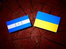 Σημαία της Ονδούρας με την ουκρανική σημαία σε ένα κολόβωμα δέντρων που απομονώνεται Στοκ Εικόνα