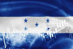 Σημαία της Ονδούρας, χρηματιστήριο, οικονομία ανταλλαγής και εμπόριο, παραγωγή πετρελαίου, σκάφος εμπορευματοκιβωτίων στην επιχεί ελεύθερη απεικόνιση δικαιώματος