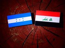Σημαία της Ονδούρας με την ιρακινή σημαία σε ένα κολόβωμα δέντρων που απομονώνεται Στοκ Εικόνα