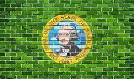 Σημαία της Ουάσιγκτον σε έναν τουβλότοιχο ελεύθερη απεικόνιση δικαιώματος