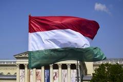 Σημαία της Ουγγαρίας που αναπτύσσεται στον αέρα στο υπόβαθρο μπλε ουρανού στοκ φωτογραφίες