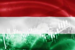 Σημαία της Ουγγαρίας, χρηματιστήριο, οικονομία ανταλλαγής και εμπόριο, παραγωγή πετρελαίου, σκάφος εμπορευματοκιβωτίων στην εξαγω διανυσματική απεικόνιση