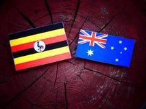 Σημαία της Ουγκάντας με την αυστραλιανή σημαία σε ένα κολόβωμα δέντρων που απομονώνεται Στοκ φωτογραφίες με δικαίωμα ελεύθερης χρήσης