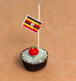 Σημαία της Ουγκάντας σε ένα cupcake Στοκ Φωτογραφία