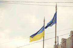 Σημαία της Ουκρανίας και της Ευρωπαϊκής Ένωσης Στοκ Φωτογραφία
