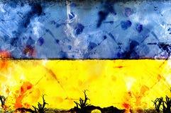 Σημαία της Ουκρανίας - πολιτική έννοια απεργίας σύγκρουσης Στοκ εικόνα με δικαίωμα ελεύθερης χρήσης