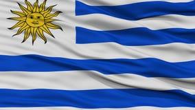 Σημαία της Ουρουγουάης κινηματογραφήσεων σε πρώτο πλάνο Στοκ φωτογραφία με δικαίωμα ελεύθερης χρήσης