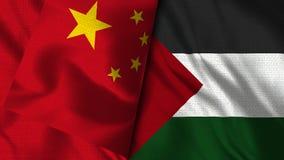 Σημαία της Παλαιστίνης και της Κίνας - τρισδιάστατη σημαία απεικόνισης απεικόνιση αποθεμάτων