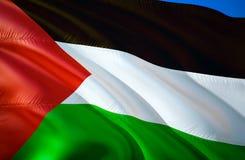 Σημαία της Παλαιστίνης τρισδιάστατο σχέδιο σημαιών κυματισμού Το εθνικό σύμβολο της Παλαιστίνης, τρισδιάστατη απόδοση Εθνικά χρώμ διανυσματική απεικόνιση