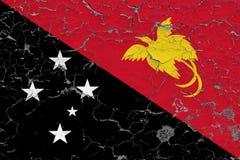 Σημαία της Παπούα Νέα Γουϊνέα που χρωματίζεται στο ραγισμένο βρώμικο τοίχο Εθνικό σχέδιο στην εκλεκτής ποιότητας επιφάνεια ύφους διανυσματική απεικόνιση
