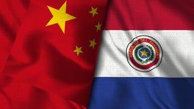 Σημαία της Παραγουάης και της Κίνας - τρισδιάστατη σημαία απεικόνισης διανυσματική απεικόνιση
