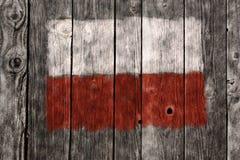 Σημαία της Πολωνίας στην ξύλινη πληγή Στοκ φωτογραφίες με δικαίωμα ελεύθερης χρήσης
